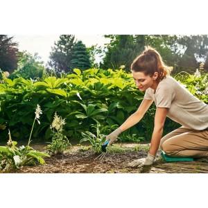 Malý kultivátor na prevzdušnenie pôdy z vysoko kvalitnej nehrdzavejúcej ocele s ergonomicky tvarovanou rukoväťou ERGO 33713