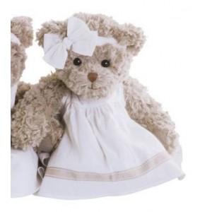 Medvedík prírodnej farby Dolce Marina v šatôčkach s mašličkou 40 cm Bukowski design 35581