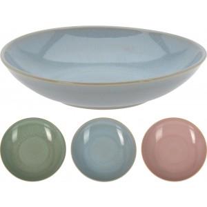 Miska z kameniny v troch farebných prevedeniach 22 x 5 cm 35112