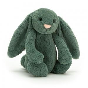 Modrozelený plyšový zajačik Jellycat Bashful Forest Bunny 31 cm 33487