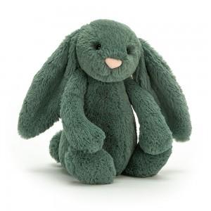 Modrozelený plyšový zajačik Jellycat Bashful Forest Bunny 31 cm 35377