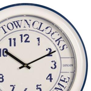 Nástenné hodiny bielo-modré kovové vo vidieckom štýle Ø 43*7 cm Clayre & Eef 34998