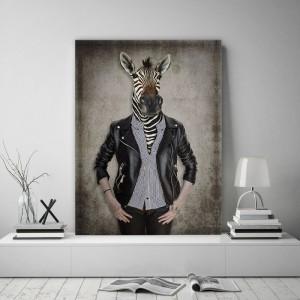 Obraz na plátne Canvas človek s hlavou zebry 60x80 cm 32503