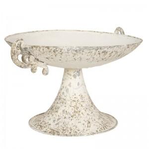 Okrúhly kovový vintage podnos na stopke v bielej patine s dekoratívnymi rúčkami 35*28*18 cm  Clayre-Eef 33294