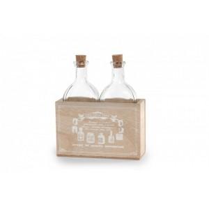 Fľaše 2ks v drevenej dóze 24649
