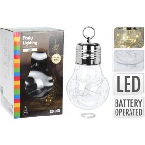 Osvetlenie v tvare veľkej žiarovky z 20 ks teplých LED svetiel na medenom drôte priemer 14x14x28 cm 33363