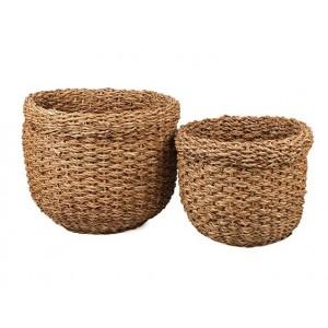Okrúhly košík z morskej trávy v prírodnej farbe malý 34940