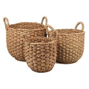 Okrúhly košík z morskej trávy v prírodnej farbe s rúčkami malý 34937