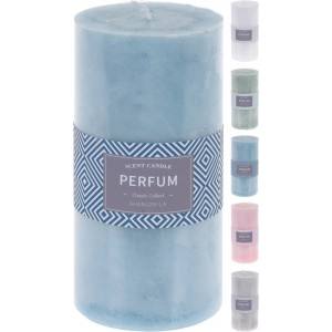 Parfumovaná sviečka v tvare valčeka 7 x 14 cm biela, zelená, modrá, ružová alebo sivá 33356