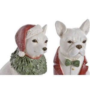 Pes z polyresinu s vianočným dekorom 14x8x18 cm 32704