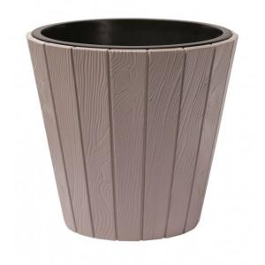 Plastový oválny kvetináč WOODE so vzorom imitácie dreva v mocca farbe 49 cm 33003