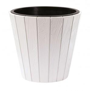 Plastový oválny kvetináč WOODE so vzorom imitácie dreva v bielej farbe 49 cm 33004