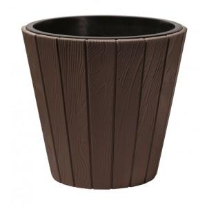 Plastový oválny kvetináč WOODE so vzorom imitácie dreva v hnedej farbe 40 cm 32999