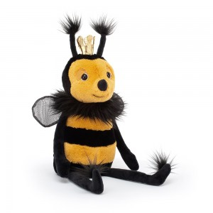 Plyšová žlto čierna kráľovná včielka s korunkou na hlave Jellycat Queen Bee 31 cm 33508