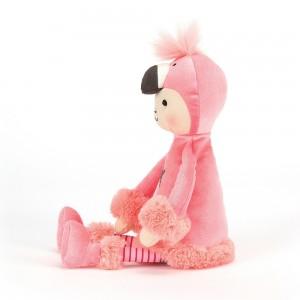 Plyšové dievčatko prezlečené za plameniaka v pásikavých pančuškách a huňatých čižmičkách Jellycat Perky Flamingo Flapper 30 cm 34886