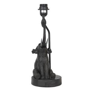 Polyresinová čierna stolná lampa so sediacim slonom 15 x 15 x 39 cm Clayre-Eef 35446