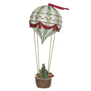 Polyresinová vianočná dekorácia teplovzdušného balóna v košíku s vianočným stromčekom a hračkami Clayre & Eef 35425