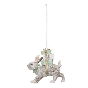 Polyresinová vianočná ozdoba ako visiaca postavička malého sivého zajačika nesúceho darčeky 9 cm Clayre & Eef 35410