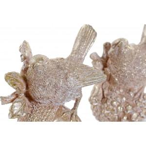 Polyresinový vták zlatý lesklý v dvoch variantoch 11 x 6 x 11 cm 35285