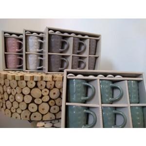 Porcelánová šálka s lyžičkou sada 6 ks ružová, modrá, hnedá alebo biela 33194
