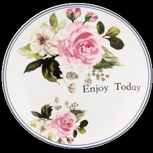Porcelánový dezertný tanier s modrým dekorom a so vzorom ruží 34611
