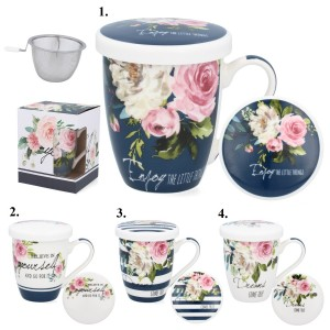 Porcelánový hrnček na čaj so sitkom a s pokrievkou Enjoy Today 34615