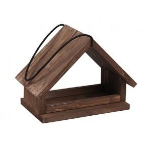Priestranná drevená vtáčia búdka hnedá ako krmítko pre vtáčiky na zavesenie 34905