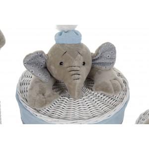 Prútený biely košík malý s vrchnákom a plyšovým sloníkom 42 cm 32802