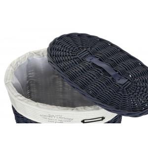 Prútený modrý kôš na prádlo malý s bavlnenou látkou a s poklopom 42 x 32 x 49 cm 35322