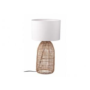Ratanová lampa s bielym textilným tienidlom 30xH60 cm 33151