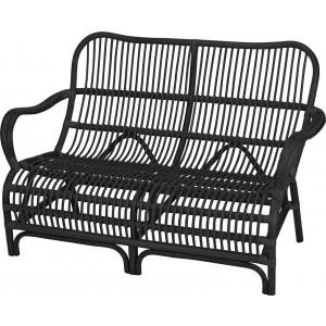 Ratanová lavička s opierkami v čiernej farbe KUBU 128 x 85 cm 35105