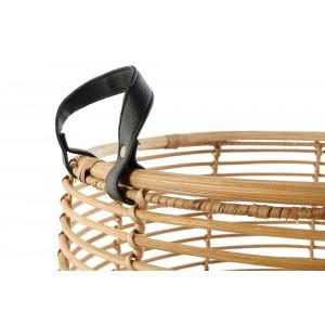 Ratanový košík s koženými rúčkami menší 32732