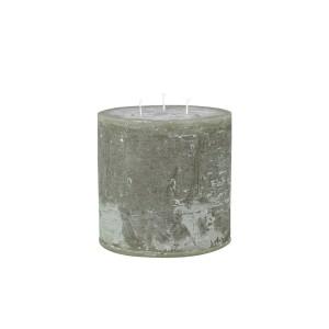 Rustikálna stĺpová sviečka v olivovej farbe 15x15 cm Chic Antique 33778