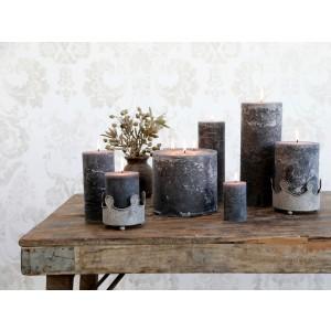 Rustikálna stĺpová sviečka v sivej farbe 25x10 cm Chic Antique 34222