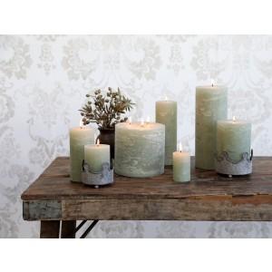 Rustikálna stĺpová sviečka v zelenkavej farbe 20x7 cm Chic Antique 33771
