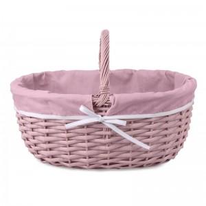Ružový prútený košík s rúčkou vystlaný zelenou látkou 48x34x21/34h cm 34542