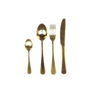 Sada príborov - lyžica, vidlička, nôž a lyžička v zlatej farbe z nerezovej ocele Chic Antique 33748