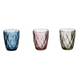 Sada troch sklenených pohárov modré, ružové alebo zelené 285 ml 33125