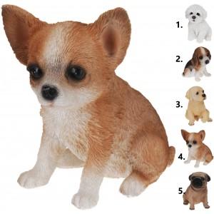 Sediaci psíček s veľkými čiernymi očami na výber z piatich možností 14x11x16,5 cm 33438