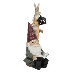 Sediaci trpaslík s veveričkou, zajačikom a s lampášom 26 cm Clayre-Eef 33260