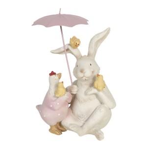 Sediaci zajac so sliepkou, s kuriatkami a s dáždnikom polyresin Clayre-Eef 12x11x16 cm 33254