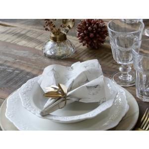 Servítky v bielo šedej farbe a s listami Chic Antique 35208