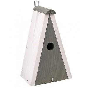Sivá drevená vtáčia búdka s bielou strieškou a háčikom 34896