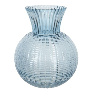 Sklenená guľatá modrá váza Ø 20x25 cm Clayre-Eef 33308