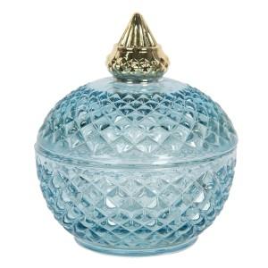 Sklenená modrá okrúhla dóza s vrchnákom so zlatým dekorom Ø 9x11 cm Clayre-Eef 33322