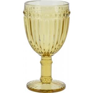 Sklenený pohár na stopke v žltom farebnom prevedení na víno 245 ml 35129