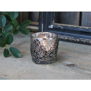 Sklenený zakalený svietnik na čajovú sviečku v kovovom dekore Chic Antique 34824