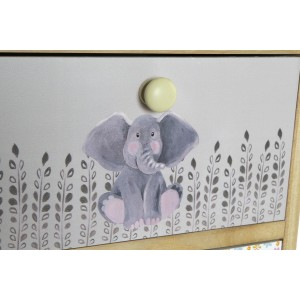 Skrinka z dreva paulownia s motívom sloníka 30x25x47 cm 32823