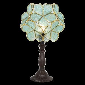 Stolová lampa Tiffany s zelenými kvietkami Clayre & Eef 34581