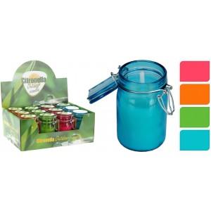 Sviečka Citronella v sklenenej fľaške proti hmyzu mix farieb 34339